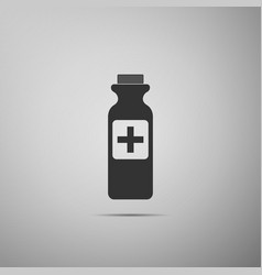 bottle with medical pills icon on grey background vector image
