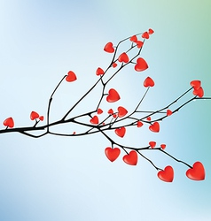 Branch with red hearts vector image