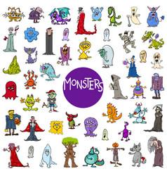 Cartoon monster characters big set vector