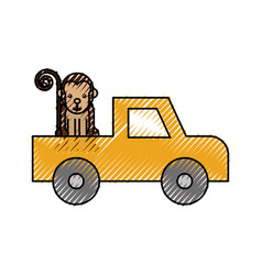 cartoon pick up vehicle safari monkey animal vector image