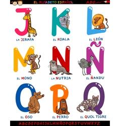 cartoon spanish alphabet with animals vector image