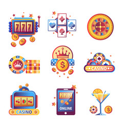 Casino poker gambling game icons vector