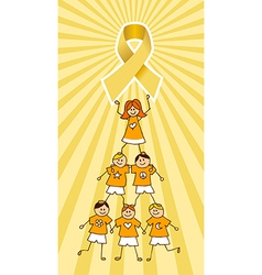 Childhood Cancer Ribbon on top of a Children Tree vector