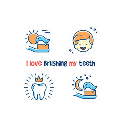 Childrens dental poster i love brushing my teeth vector