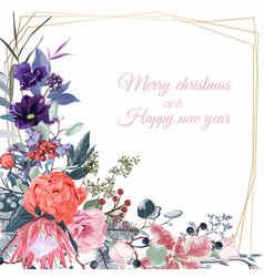 christmas greeting card with festive plants vector image