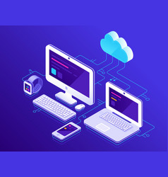 cloud storage computer devices connected to data vector image