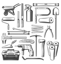 construction and repair work tools icons vector image