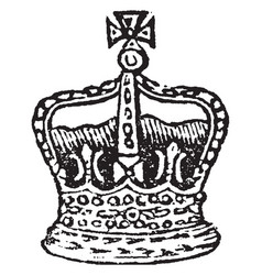 Crown of the king of england vintage engraving vector