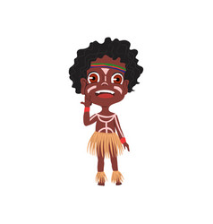 Cute african tribe boy with colorful ornament vector