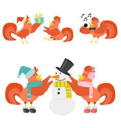 cute cartoon rooster chicken vector image