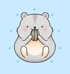 Cute hamster eating sunflower seed cartoon hand vector