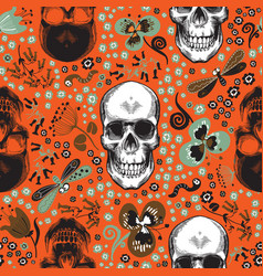 Cute seamless pattern with human skulls drawn in vector