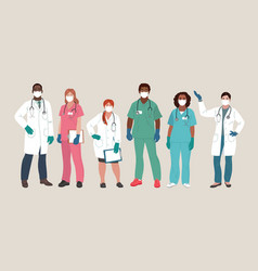 doctor and nurse wearing face mask and medical vector image