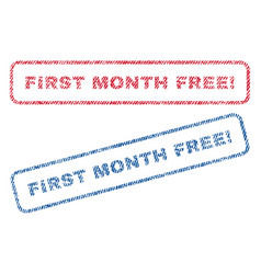 First month free exclamation textile stamps vector