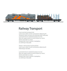 flyer locomotive with railway platform with timber vector image