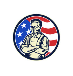 food worker wearing mask usa flag retro vector image