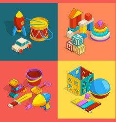 Four thematic groups of preschool children toys vector