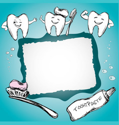 frame with healthy teeth toothpaste toothbrush vector image