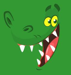 Funny cartoon crocodile face vector