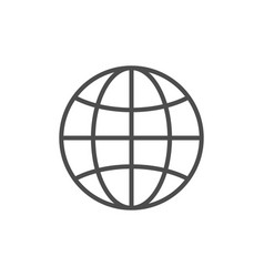 globe or world map line icon vector image