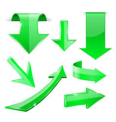 green 3d arrows shiny icons vector image