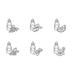 hair oils pixel perfect linear icons set avocado vector image