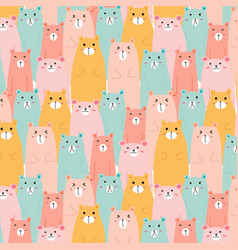 Hand drawn cute bears pattern background vector