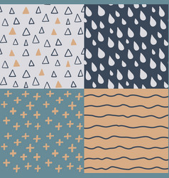 hand drawn seamless pattern set simple texture vector image