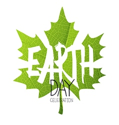Happy Earth Day Poster Green leaf Leaf texture vector image