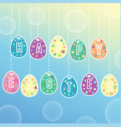 happy easter egg card with hanging vector image