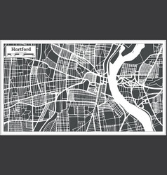 Hartford usa city map in retro style outline map vector
