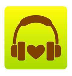 headphones with heart brown icon at green vector image