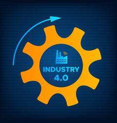 industry 40 revolution gear and factory icon vector image