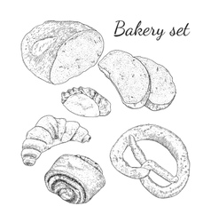 Ink hand drawn bakery set isolated vector