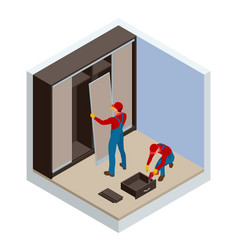 Isometric two carpenters workers joint and settle vector