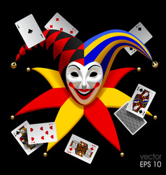 Joker head with playing cards isolated on black vector