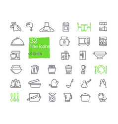 kitchen icon set flat design thin line style vector image