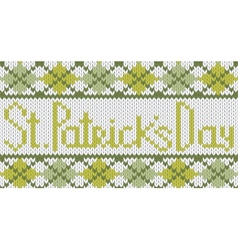 Knitted pattern with rhombus for st patricks day vector