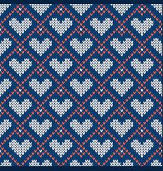 Knitted seamless pattern with hearts for vector
