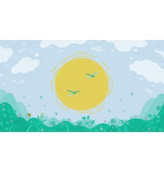 Landscape sun and meadow vector image