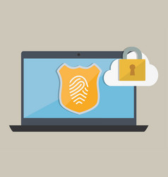 Laptop and security system design vector