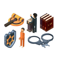 Law justice isometric legal hamer courtroom vector