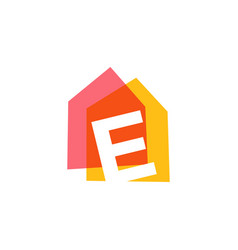 letter e house home overlapping color logo icon vector image