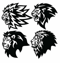 Lion head logo collection set premium vector
