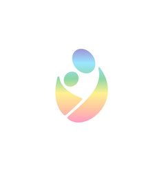 Logo wearing baby in sling rainbow logotype man vector