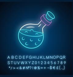 Magic potion bottle neon light icon alchemy vector