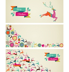 Merry Christmas elements template web banners set vector