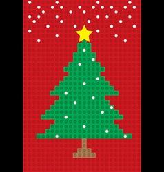 merry christmas tree postcard block pattern vector image