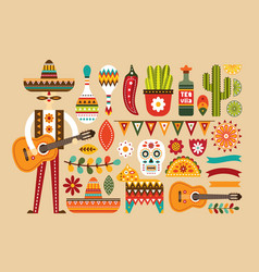 mexican folk set in flat style vector image