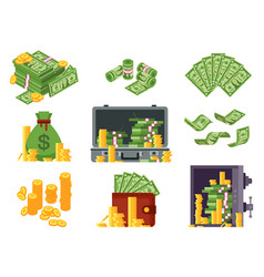money banknote cash bag banknotes wallet and vector image